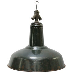 Black Green Enamel Vintage Industrial Pendant Light