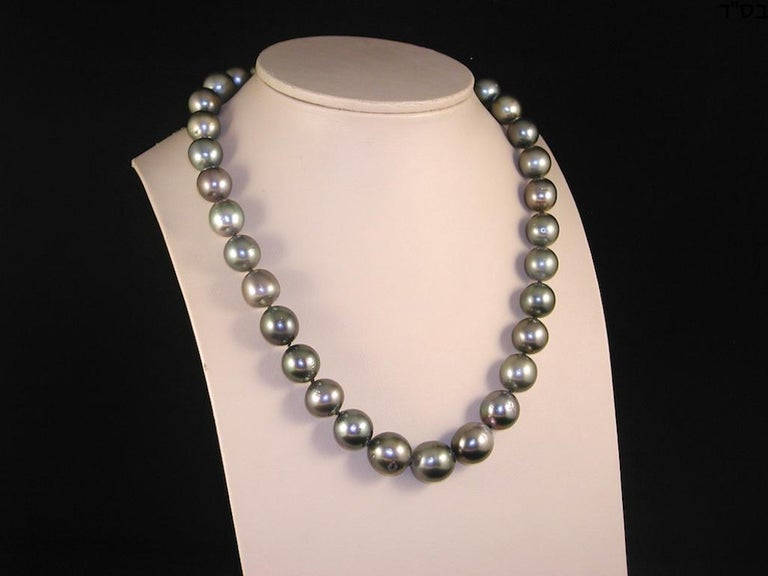 Round Cut Black Green Grey Natural Tahiti Pearl Cocktail Dress Necklace For Sale