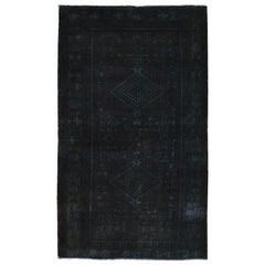 Black-Green Overdyed Persian Shiraz Worn Down Hand Knotted Clean Rug