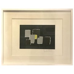 Black, Grey, Chartreuse Collage by Artist Isabelle Bouteillet, France