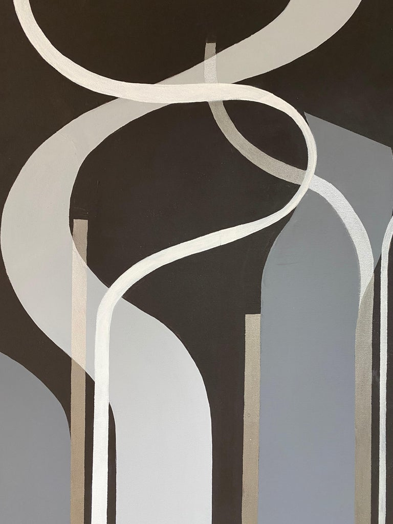"""About the painting """"Freedom""""   This painting resembles liberty.  About the artist:  Cecilia's is working with all geometrical forms, lines and shadows.  Her style developed to be clean and sharp forms in different combinations. Often they are"""