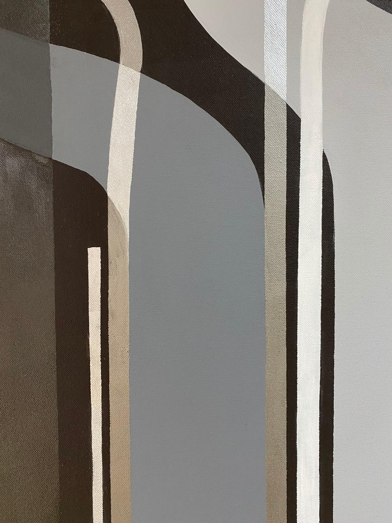 Emirian Black Grey Silver Shiny Painting/Acrylic Geometric Modern on Canvas by Cecilia  For Sale
