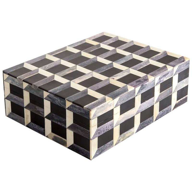 Black, Grey, White Three D Patterned Lidded Box, Indonesian, Contemporary