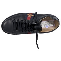 Black Gucci Ace Embroidered Leather Sneakers