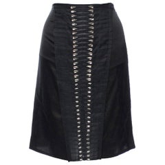 Black GUCCI by Tom Ford 2004 Crystal Pleated Chiffon Silk Skirt