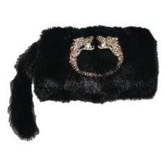 Black Gucci by Tom Ford Dragon Pearl Jeweled Mink Fur Purse Evening Bag Clutch