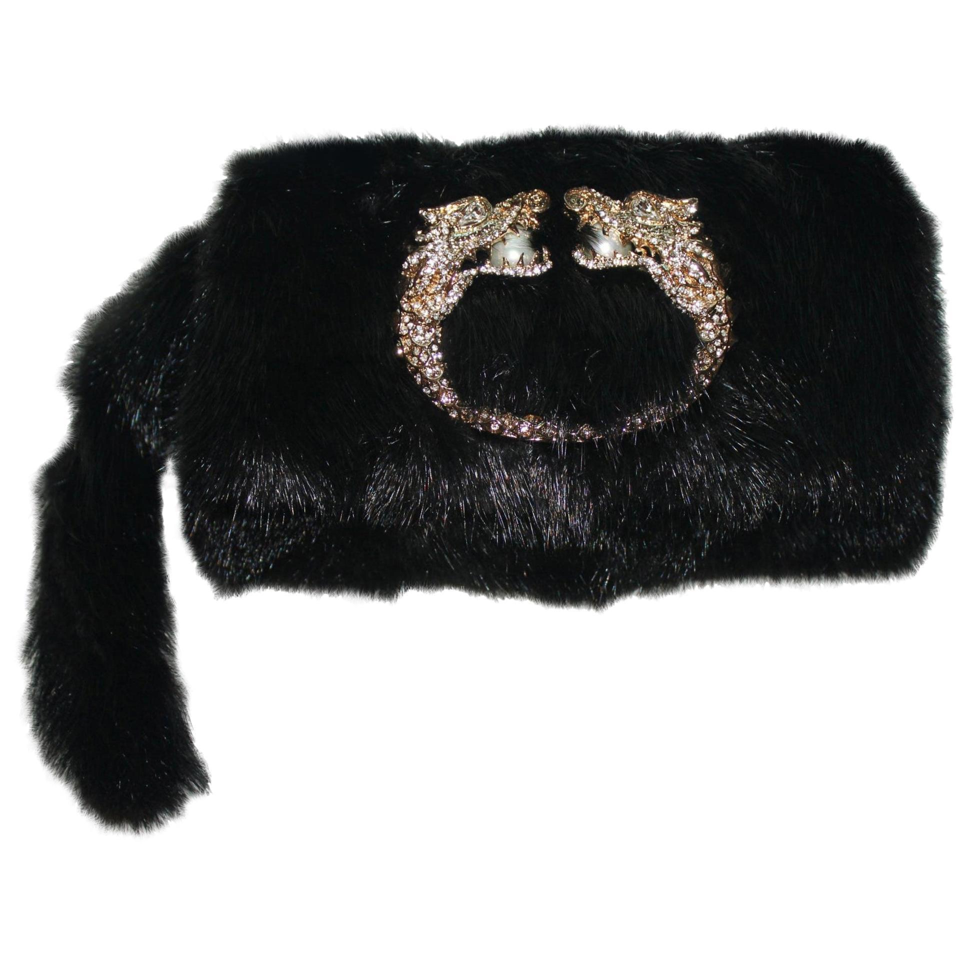 NEW Gucci by Tom Ford Black Dragon Pearl Jeweled Mink Fur Evening Bag Clutch