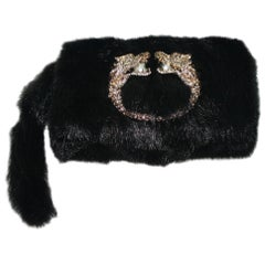 Black Gucci by Tom Ford Dragon Pearl Jeweled Mink Fur Purse Evening Bag Clutch