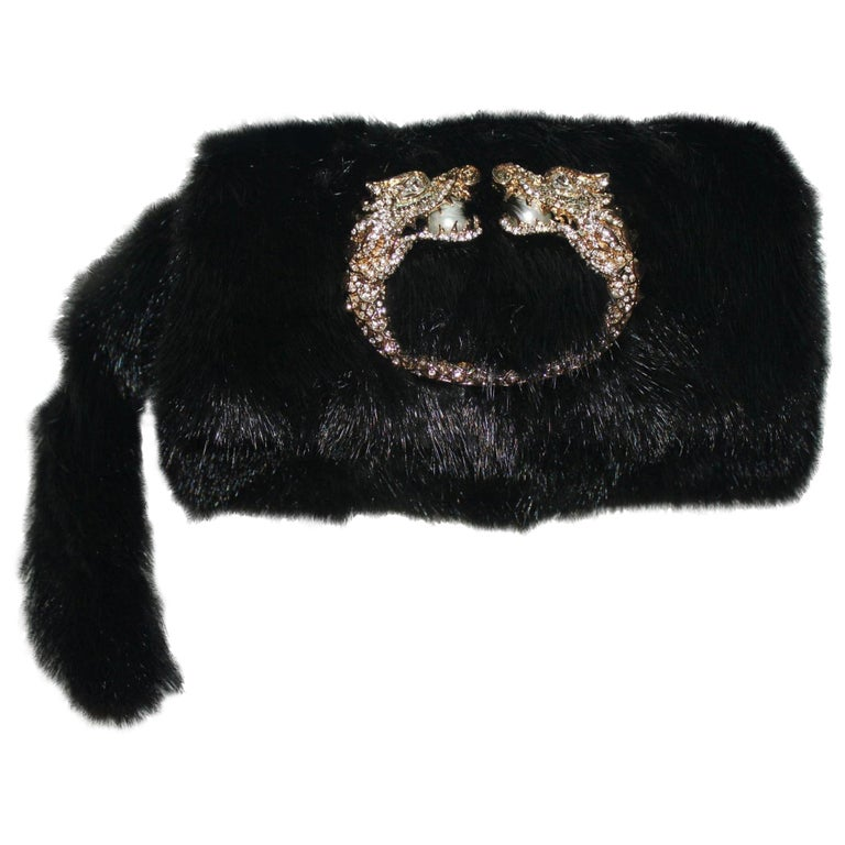 Black Gucci by Tom Ford Dragon Pearl Jeweled Mink Fur Purse Evening Bag Clutch For Sale