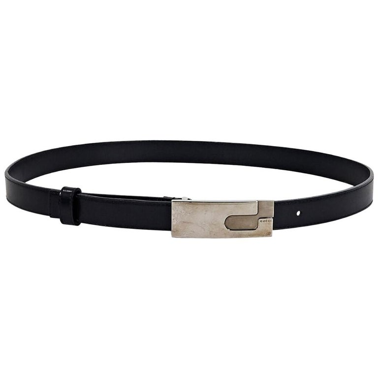 Black Gucci Leather Belt For Sale