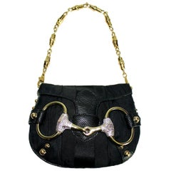 Black Gucci Lizard Skin Crystal-Encrusted Horsebit Bag Purse with Bamboo Chain