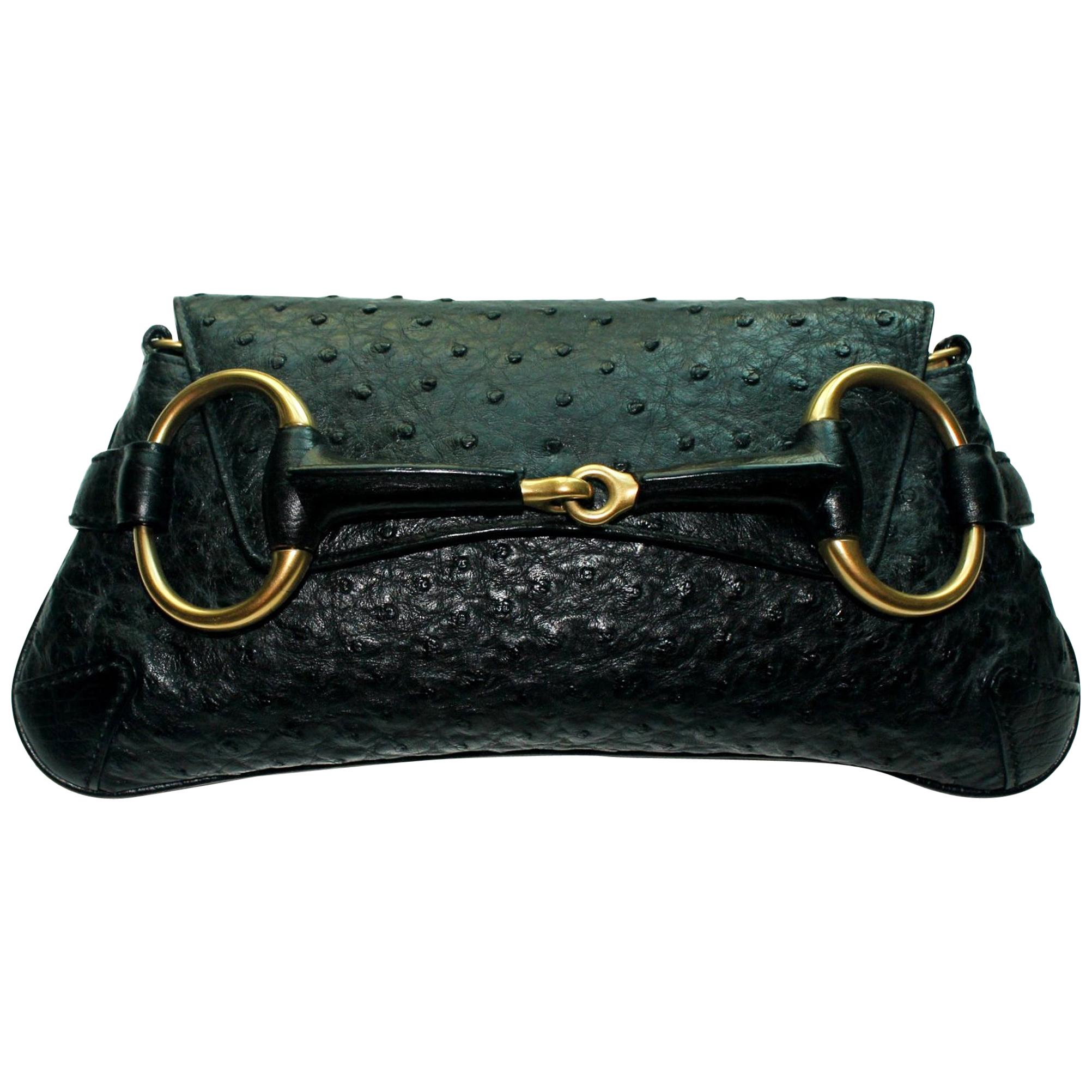 Black GUCCI Ostrich Skin Horsebit Flap Clutch Bag