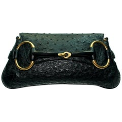 Black GUCCI Ostrich Skin Horsebit Flap Clutch Bag