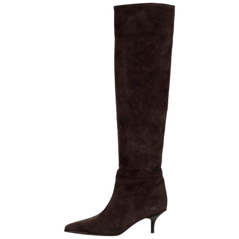Black Gucci Suede Skin Leather Knee High Boots For Sale