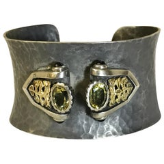 Black Hammered Cuff Bracelet with Adornment