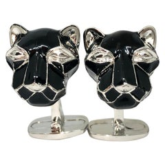 Black Hand Enameled Cougar Head Shaped Sterling Silver Cufflinks