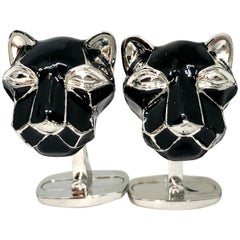 Black Hand Enameled Cougar Head Shaped Sterling Silver Cufflinks