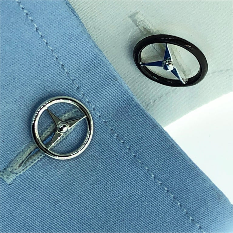 Black Hand Enameled Steering Wheel Shaped Sterling Silver Cufflinks For Sale 4