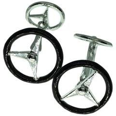 Black Hand Enameled Steering Wheel Shaped Sterling Silver Cufflinks