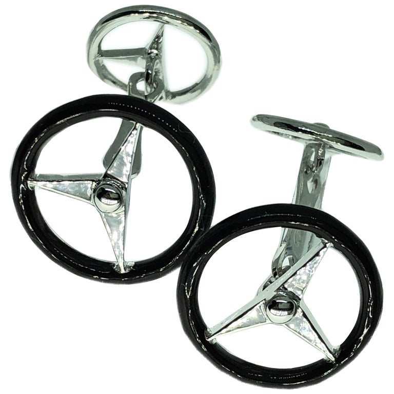 Black Hand Enameled Steering Wheel Shaped Sterling Silver Cufflinks For Sale