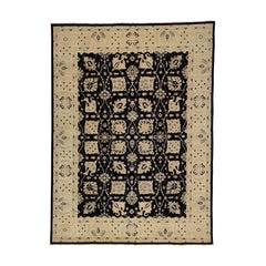 Black Hand Knotted Pure Wool Peshawar Oriental Rug