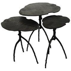 Black Handcrafted Dickinsonia Stacking Tables Triptych in Bronze by Eric Gizard