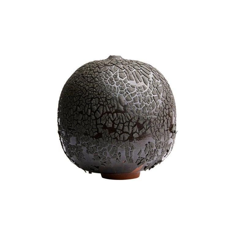 Black Handmade Contemporary Ceramic Vase / Interior Sculpture / Wabi Sabi For Sale
