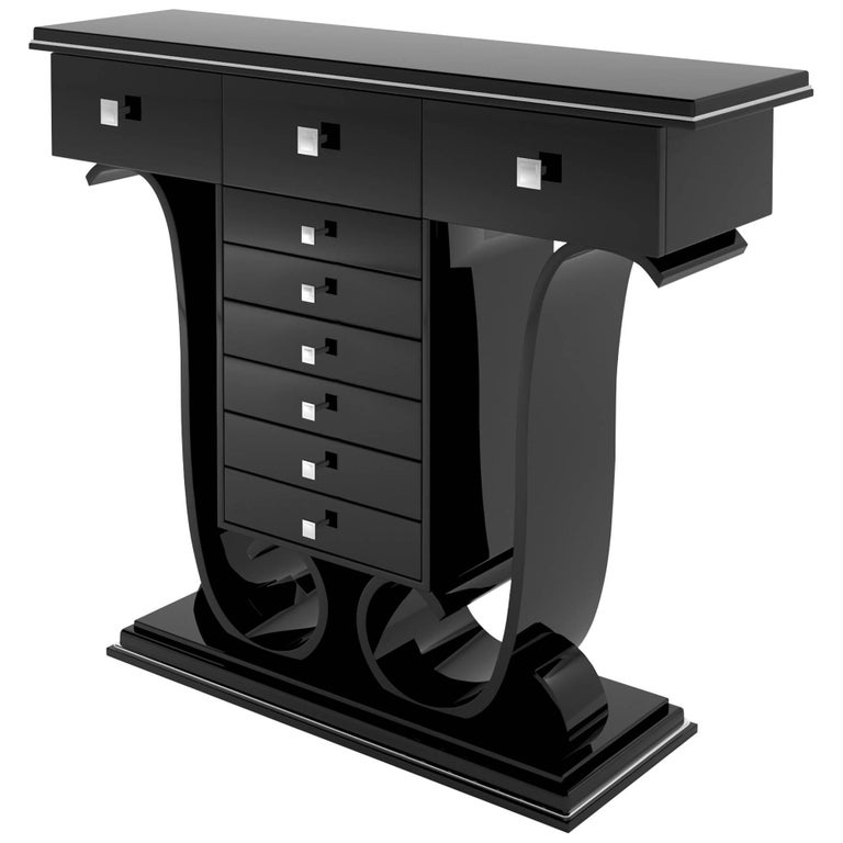 High Tables For Sale: Black High Gloss Console Table With Drawers And Curved