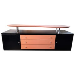 Black High Gloss Sideboard with Pink Details from Late 80's/Early 90's