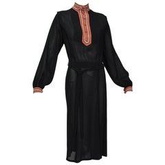 Black High Neck Ottoman Crochet and Crêpe Day Dress w Eisenhower Bodice-M, 1940s