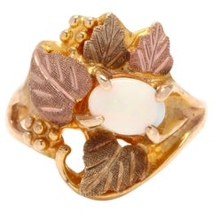 Black Hills 10 Karat Tri-Color Gold and Opal Leaf Ring