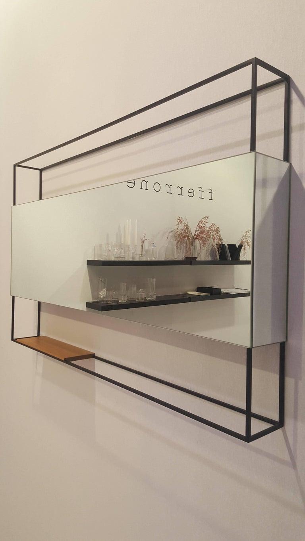 Modern Black Horizontal Frame Minimal Contemporary Mirror with Movable Oak Shelf, USA For Sale