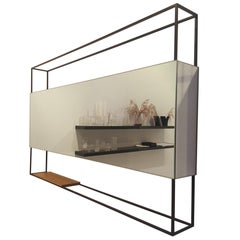 Black Horizontal Frame Minimal Contemporary Mirror with Movable Oak Shelf, USA
