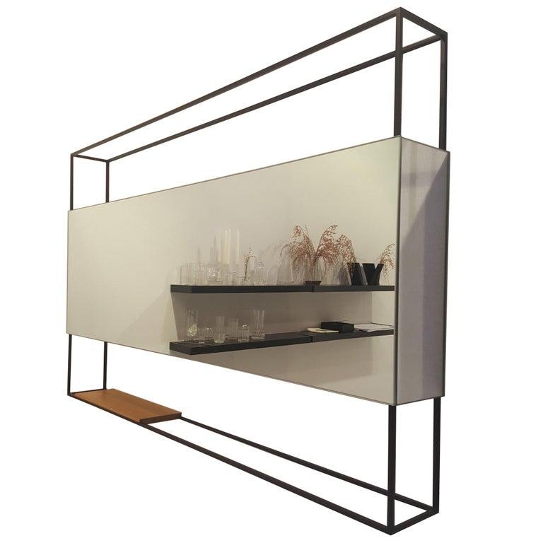 Black Horizontal Frame Minimal Contemporary Mirror with Movable Oak Shelf, USA For Sale