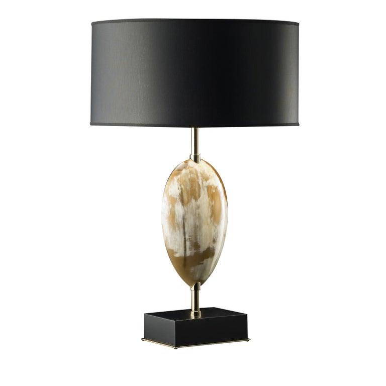 Italian Black Horn Table Lamp For Sale