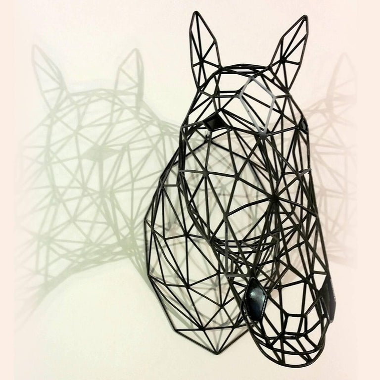 Italian Black Horse Iron Sculpture For Sale