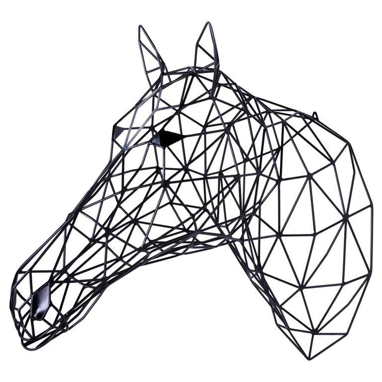 Black Horse Iron Sculpture For Sale
