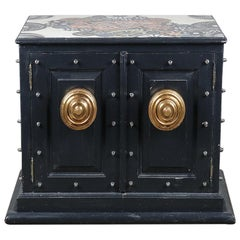 Black Industrial Cabinet with Appliqué Top, 20th Century