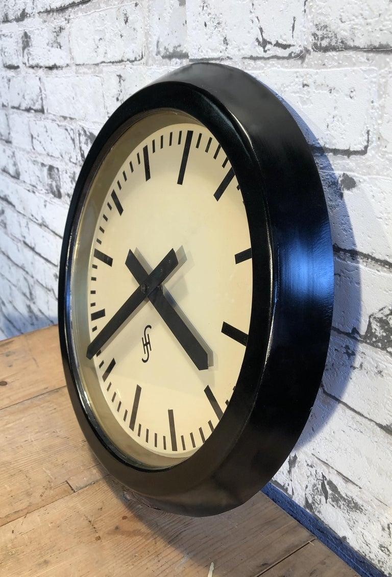 German Black Industrial Factory Wall Clock from Siemens, 1950s For Sale