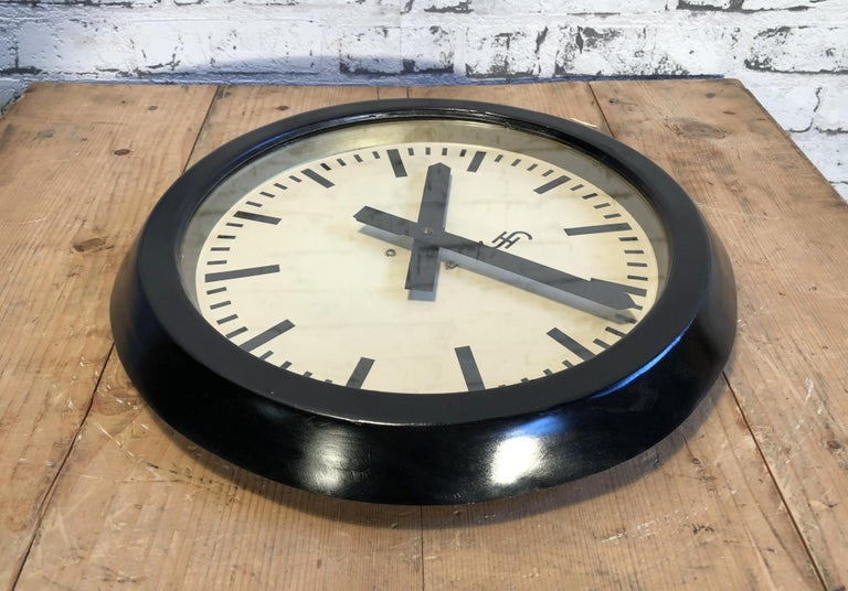 20th Century Black Industrial Factory Wall Clock from Siemens, 1950s For Sale