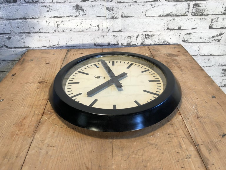 Glass Black Industrial Factory Wall Clock from Siemens, 1950s For Sale