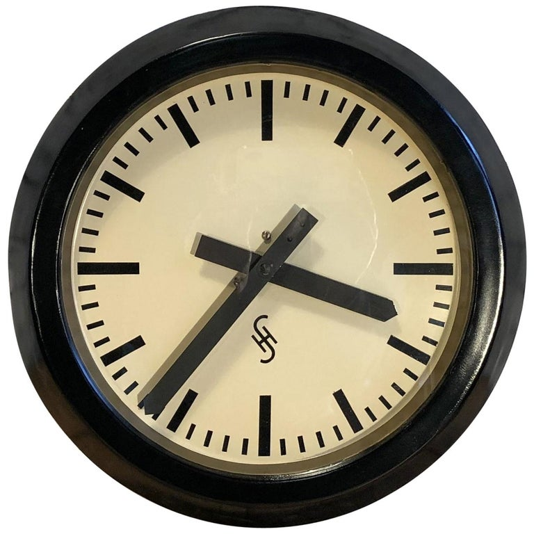 Black Industrial Factory Wall Clock from Siemens, 1950s For Sale