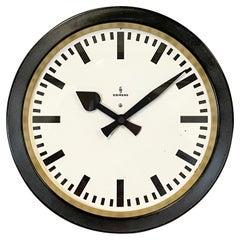 Black Industrial Factory Wall Clock from Siemens, 1950s