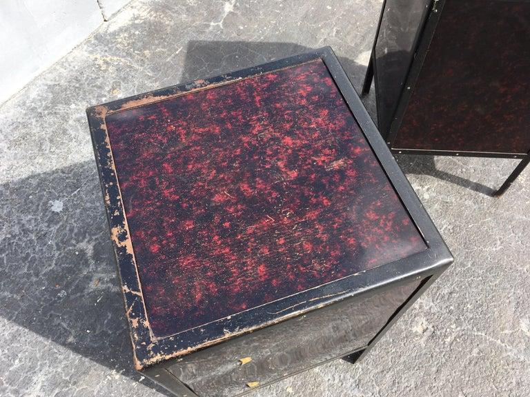 American Black Industrial Nightstands Art Deco Tables For Sale