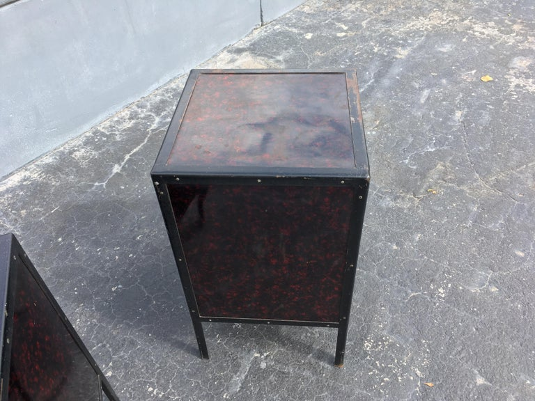 Black Industrial Nightstands Art Deco Tables In Good Condition For Sale In Opa Locka, FL