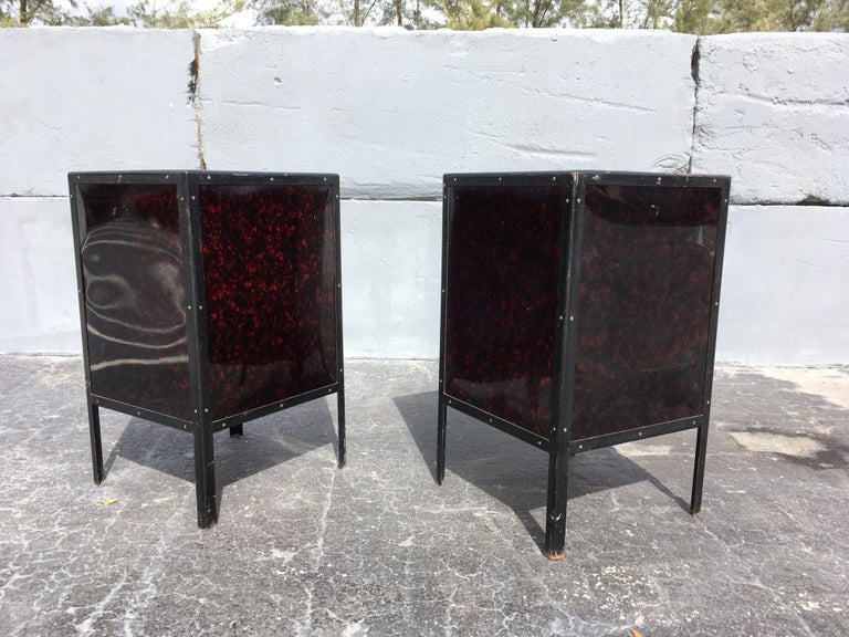 Early 20th Century Black Industrial Nightstands Art Deco Tables For Sale