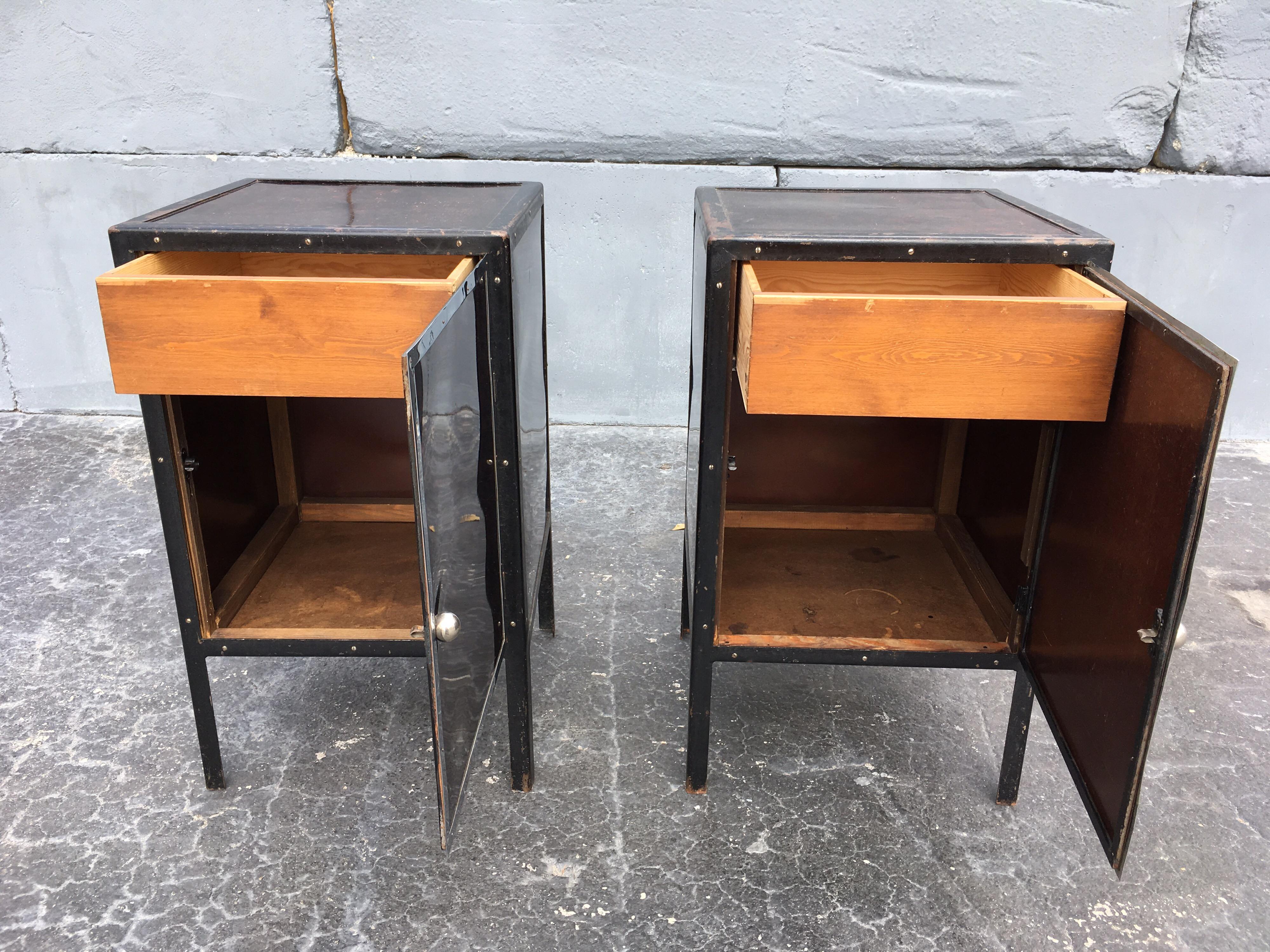 Black Industrial Nightstands Art Deco Tables