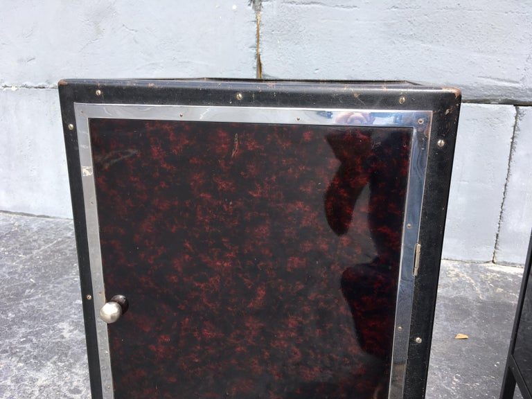 Black Industrial Nightstands Art Deco Tables For Sale 3