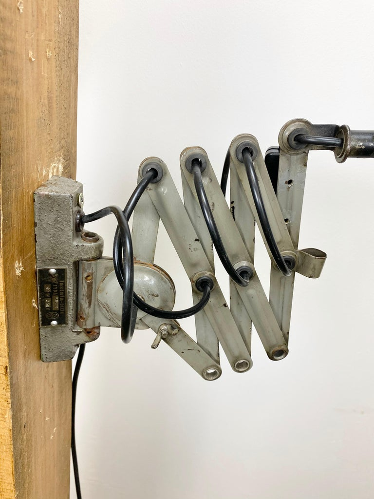 Black Industrial Scissor Wall Lamp, 1960s For Sale 2
