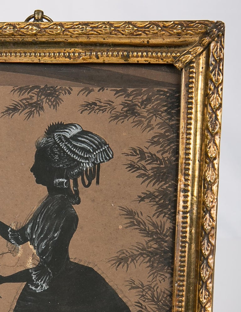 Victorian Black Ink and Gouache Drawing of a Young Lady Made in England circa 1830 For Sale